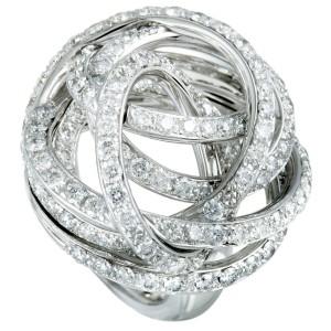de Grisogono 18K White Gold Full Diamond Tangled Swirl Ring