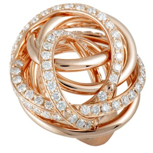 de Grisogono 18K Rose Gold Diamond Tangled Swirl Ring