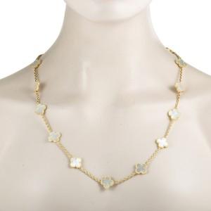 Van Cleef & Arpels Vintage Alhambra 18K Yellow Gold Mother of Pearl 20 Motif Necklace