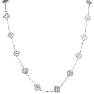 Van Cleef & Arpels Vintage Alhambra 18K White Gold Diamond Pave 20 Motif Long Necklace