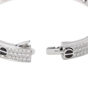 Cartier Love Bracelet 18K White Gold Full Diamond Pave and Black Ceramic Size 18