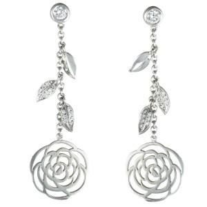 Chanel Camellia 18K White Gold Diamond Dangling Flower Push Back Earrings