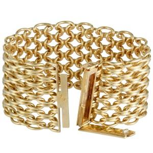 Van Cleef & Arpels Vintage 18K Yellow Gold Wide Mesh Bracelet