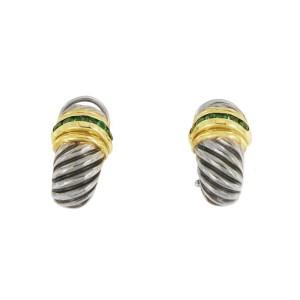 David Yurman Silver & 14k Gold .40ct Emerald Shrimp Earrings