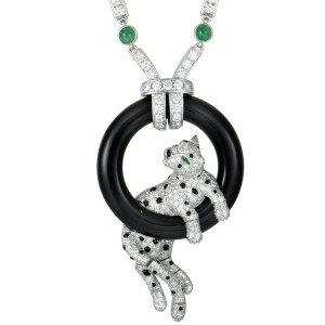 Cartier Panthere Platinum and 18K White Gold Diamond Pave, Emerald, and Onyx Panther Pendant Necklace