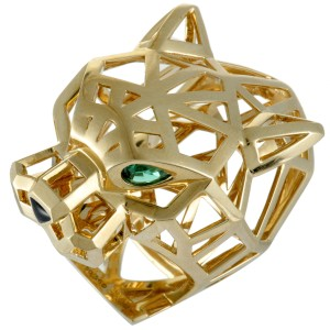Cartier Panthere 18K Yellow Gold Onyx and 2 Tsavorite Openwork Panther Head Ring