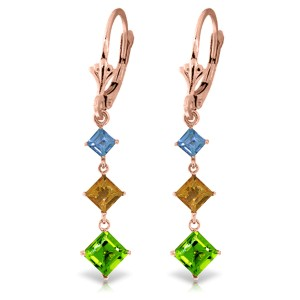 4.8 CTW 14K Solid Rose Gold Chandelier Earrings Blue Topaz, Citrine Peridot