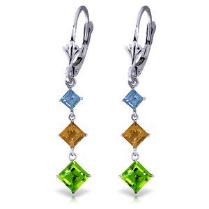 4.8 CTW 14K Solid White Gold Chandelier Earrings Blue Topaz, Citrine Peridot