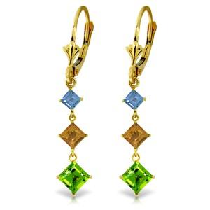 4.8 CTW 14K Solid Gold Waterdrops Blue Topaz, Citrine, Peridot Earrings
