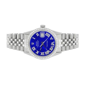 Rolex Datejust 36MM Automatic Stainless Steel Watch w/Royal Blue Roman Dial & Diamond Bezel