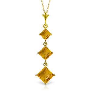 2.4 CTW 14K Solid Gold Melting Flames Citrine Necklace