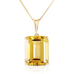 6.5 CTW 14K Solid Gold Necklace Octagon Citrine