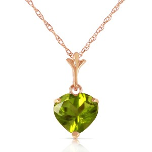 1.15 CTW 14K Solid Rose Gold Proud Heart Peridot Necklace