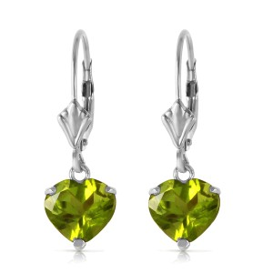 3.25 CTW 14K Solid White Gold Leverback Earrings Natural Peridot