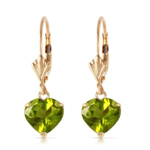 3.25 CTW 14K Solid Gold Leverback Earrings Natural Peridot