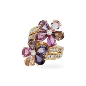 Bulgari 18K Yellow Gold Sapphire 0.80ct Diamond Flower Ring Size 5.5
