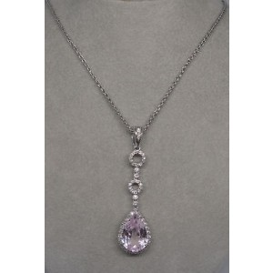 14K White Gold Kunzite & Diamond Pendant Necklace