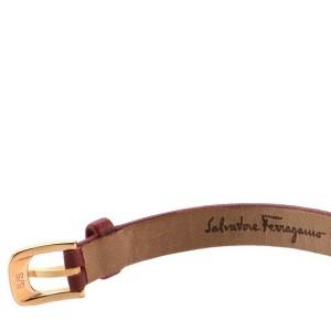 Salvatore Ferragamo Gancino Bracelet Quartz Watch Plated Stainless Steel and Leather 22