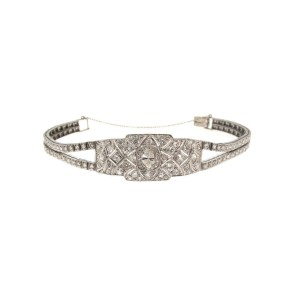 14K White Gold Diamond & Platinum Bracelet