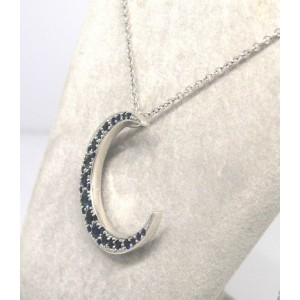 18K White Gold Sapphire Crescent Pendant on Chain