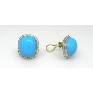 18K White Gold Turquoise & Pave Diamond Post & Clip-On Earrings