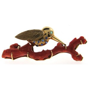 14K Yellow Gold, Coral, Sapphire & Green Peridot Woodpecker Brooch