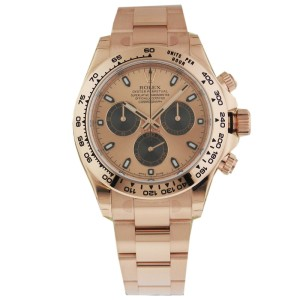 Rolex Cosmograph Daytona Men's Rose Gold Watch 116505 Pink Dial
