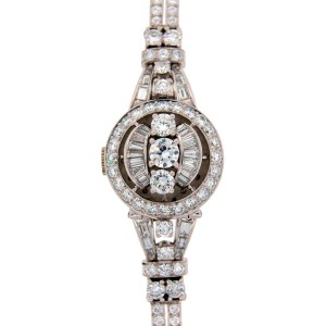 Omega 6.86 Cts Vintage C.1960S Diamond & Platinum Ladies Watch