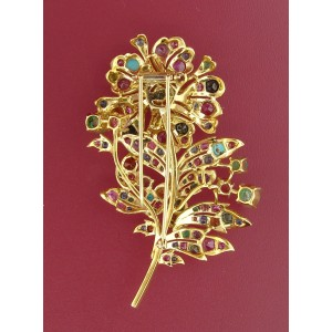 Yellow Gold & Diamond Multi Gems Flower Brooch Pin