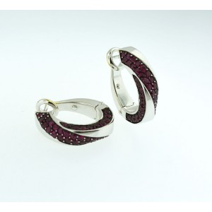 Mauboussin 18k White Gold Hoop Pink Sapphire Earrings