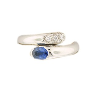 Bulgari 18K White Gold Blue Sapphire And Diamond Ring