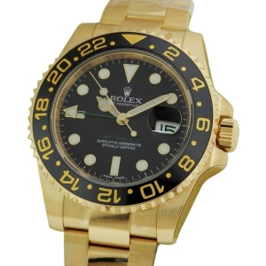 Rolex GMT Master II 116718 BK 40mm 18K Yellow Gold Black Dial Watch