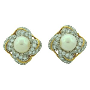 Tiffany & Co. Schlumberger Akoya Pearl Diamond Gold Earrings