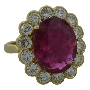 18K Yellow Gold Ruby & Diamond Cocktail Ring