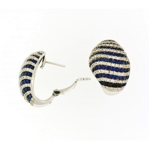 Salavetti Italian Designer Sapphire and Diamonds Chunky And Chic Earrings