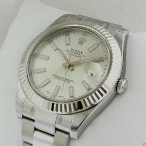 Rolex Datejust II 116334 SIO Silver 18K Gold Automatic Swiss 41mm Mens Watch