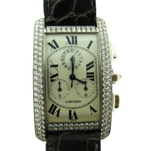 Cartier Tank Swiss Made 18K White Gold Water Resistant Diamond Watch