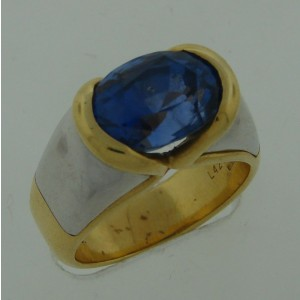 Marina B Blue Sapphire White & Yellow Gold Cocktail Ring