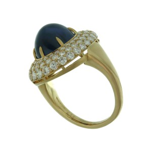Harry Winston 18k Yellow Gold Diamond Blue Sapphire Dome Ring