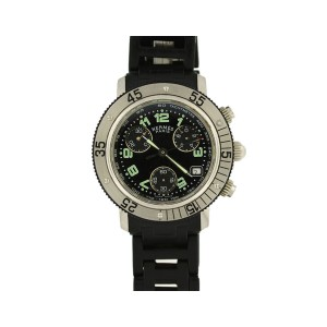 Hermes Clipper Diver Chronograph Watch Black Cl2.915 Water Resistant Enamel Band