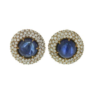 Harry Winston Yellow Gold Diamond Blue Sapphire Dome Earrings
