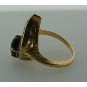 14k Yellow Gold Tiger Eye & Diamond Ring