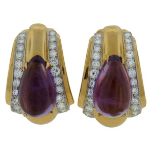 David Webb Amethyst Diamond Yellow Gold Earrings