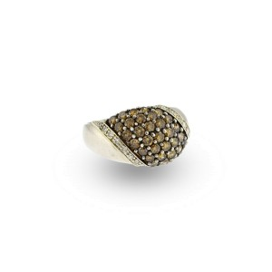 10K White Gold Fancy Brown And White Diamond Ring