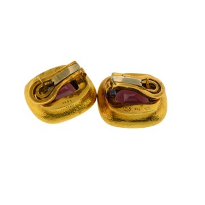 18K Yellow Gold And Garnet Earrings