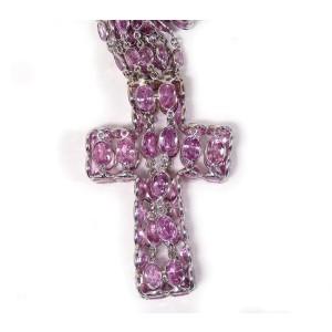 De Grisogono 18K White Gold 334Ct Pink Sapphire Cross Pendant Necklace