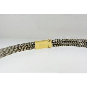 18K Two Tone Gold And Diamond Cable Cord Necklace