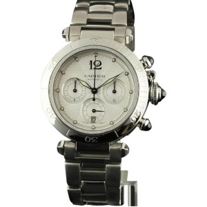 Cartier Pasha Chronograph W31030H3 Stainless Steel Silver Watch