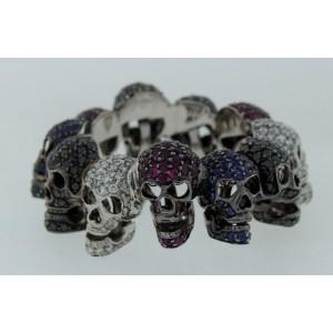 Rock-n-roll Deakin & Francis Diamond Ruby Sapphire White Gold Skull Band Ring