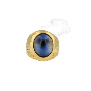 14K Yellow Gold Blue Cabochon Sapphire Ring